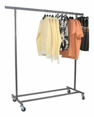 Rolling Clothing Rack with Single Hangrail