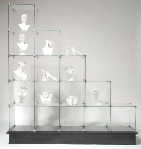 Glass Cube Display Unit, Glass Store Display Stand, Glass Shelves