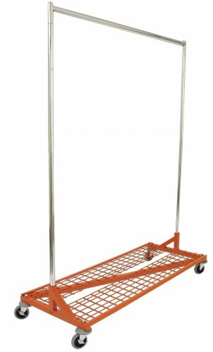 Heavy Duty Rolling Rack With Shelf, Display Store Rack, Commercial Clothing  Rack